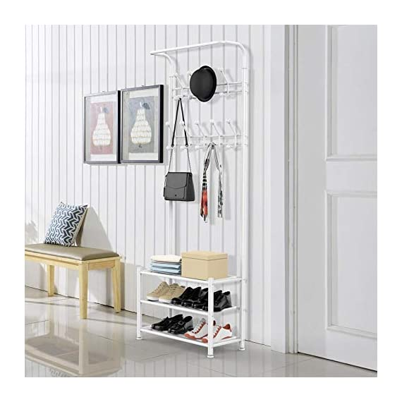 Yaheetech Fashion Heavy Duty Garment Rack with Shelves 3-Tier Shoes Rack,Coat Rack with Hanger Bar White - High quality: Constructed of powder coated metal tube, antirust and durable, won't be out of shape, strong and sturdy. 18 hooks coat rack: 18 hooks in 4 levels can be used for you and your kids' clothes, bags, hat, purse and handbags in different height and type. 3-tier shoe rack: 3-tier ample metal shelves provided to organize various size shoes , shoe boxes, and storage boxes. 3-tier shoe rack is suitable for keeping your shoes neat and organized. You can also storage your handbags on the top shelf. - hall-trees, entryway-furniture-decor, entryway-laundry-room - 51JU%2Bdm%2BjcL. SS570  -