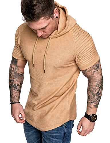 Design Khaki T-shirt Tee - Mens Casual Short Sleeve Slim Fit T-Shirt Bodybuilding Muscle Fitness Tee Tops (US XXL, Hoodie Khaki Pleat)