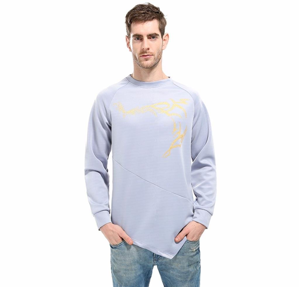 Cool Fashion Sweatshirt For Men,Males Shirt Totem Printed Irregullar Slim Pullover Top Jumper Blouse (Gray, Asian:2XL) by WM & MW