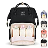 Diaper Bag Multi-Function Waterproof Travel Backpack Nappy Bag for Baby Care with Insulated Pockets, Large Capacity, Durable (Black)