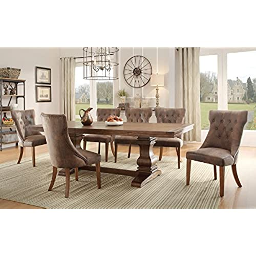 Homelegance Marie Louise 9 Piece Dining Room Set In Rustic Brown  sc 1 st  Amazon.com & Dining Table Set Rustic: Amazon.com