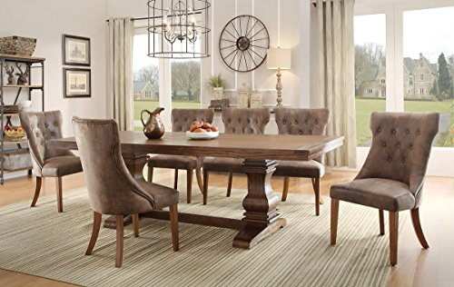 Double Pedestal Dining Set - Homelegance Marie Louise 9 Piece Dining Room Set In Rustic Brown