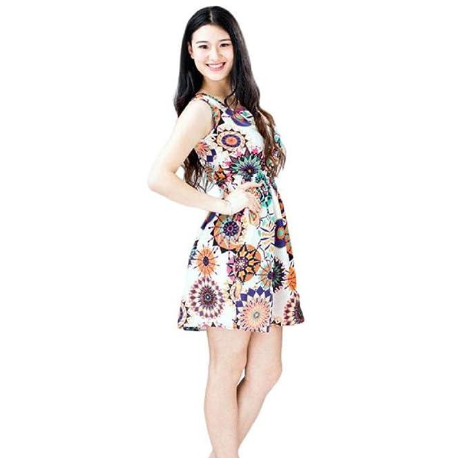 BakeLIN Kleid Damen Sommer Sexy Mode Casual Chiffon Sonnenblume ...