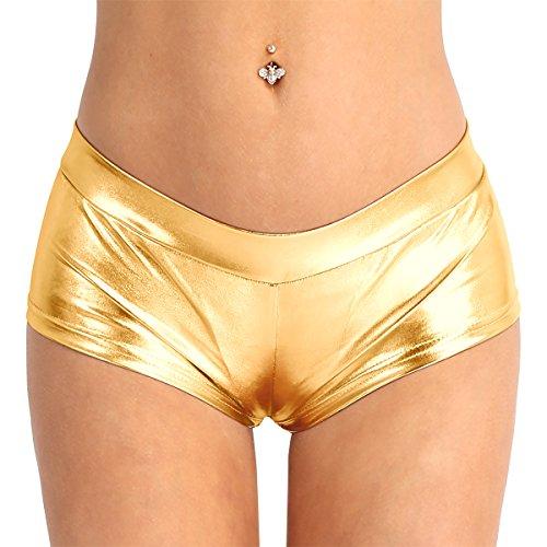 (iEFiEL Women's Shiny Faux Leather Metallic Rave Booty Shorts Hot Pants Dance Bottoms Gold L)