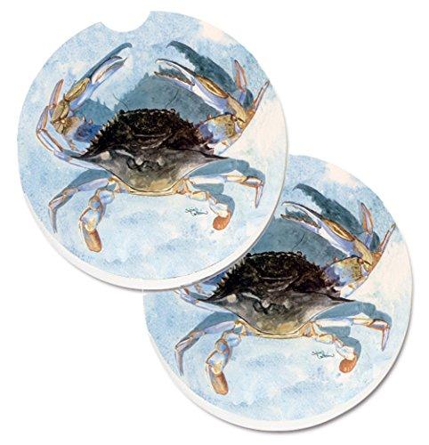 Caroline's Treasures Blue Crab Set of 2 Cup Holder Car Coasters 8011CARC, 2.56, Multicolor (Coasters Treasures)