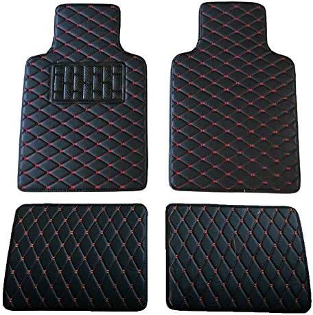 Universal All-Season Diamond Pattern Car Floor Mats Faux Leather Car Floor Mats Black for Cars, Coupes