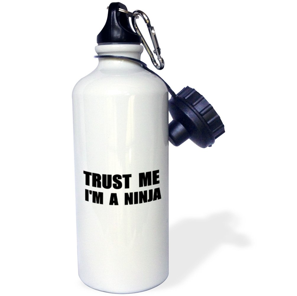 3dRose wb_195640_1 Trust Me I'm A Ninja - Fun, Funny, Humor, Humorous, Joke, Gag Text Gift Sports Water Bottle, 21Oz, Multicolored