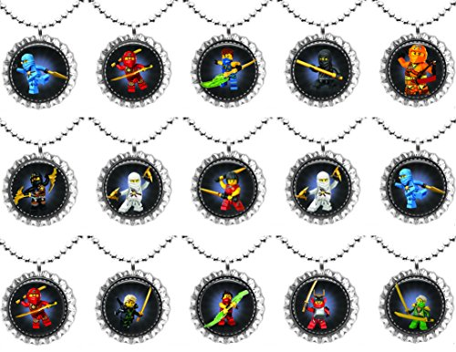 15 NINJAGO movie Flat Bottle Cap Necklaces for Birthday, Party Favors, Bag - Bags Cartoon Flat