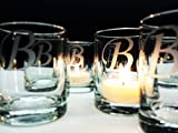 Personalized Monogram Candle Favors 96 Piece Set Table Decor Engraved Glass Gift Memento