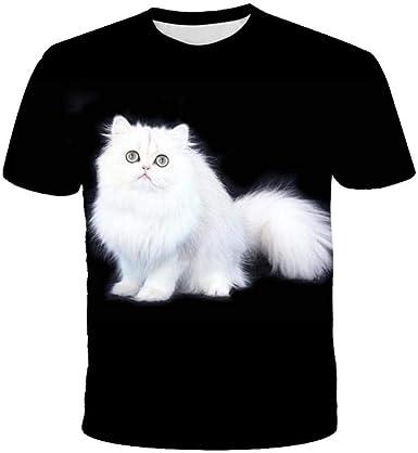Camiseta Negra De Manga Corta con Estampado 3D De Gato Blanco ...
