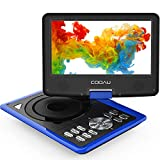 COOAU Portable DVD Player 11.5' with Game Joystick, Swivel HD Screen 9.5', Support Multi-Format, Region Free, Long Lasting Battery with Power Adapter & Car Charger, Support AV-in/AV-Out/SD/USB, Blue