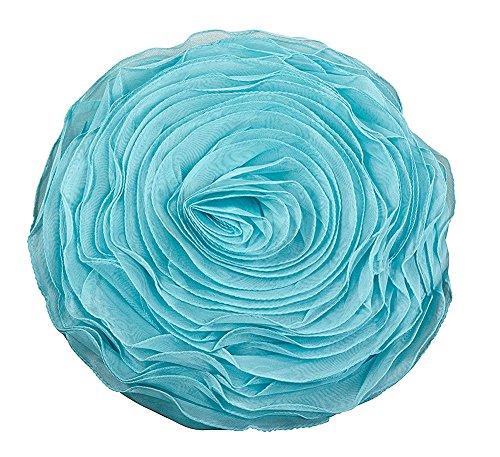 Fennco Styles Hayley Rose Chiffon Decorative Throw Pillow, Filler Included, 16-inch Round (Aqua)