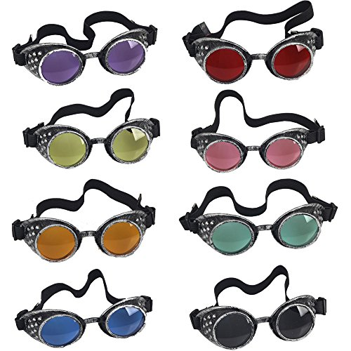 OMG_Shop Old Silver Frame Steampunk Goggles Glasses Vintage Victorian welding Cosplay Goth Punk Costume