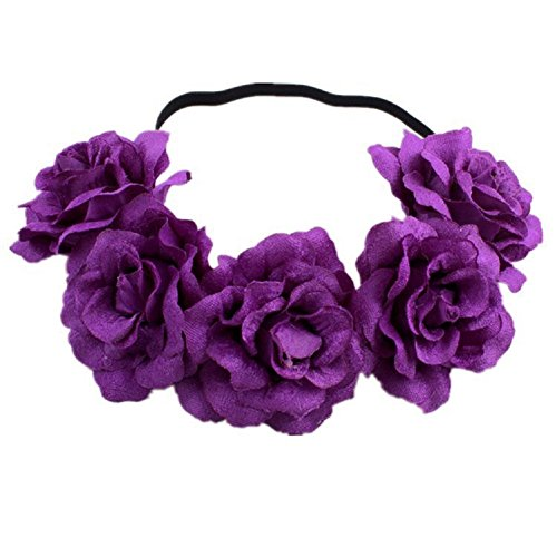 DreamLily Rose Flower Crown Wedding Festival Headband Hair Garland Wedding Headpiece (3-Purple)