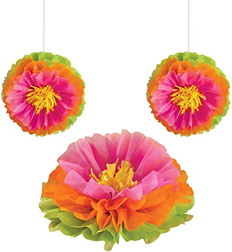 Amscan Hibiscus Fluffy Flower Party Decorations, 16