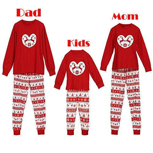 Women Family Matching Christmas Deer Pajamas Pants Sets Xmas Sleepwear Nightwear Men Kids Duseedik ()
