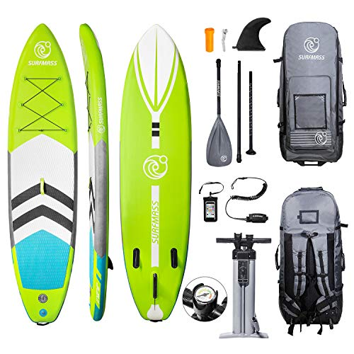 """SURFMASS Inflatable SUP 11' L x 6"""" T x 32"""" W Stand Up Paddle Board Stance iSUP with Adjustable Fiberglass Paddle, Dual Chamber Hand Pump, Wheeled Travel Backpack, Safety Ankle Leash, Fin (Green)"""