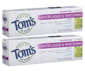 Tom's of Maine Natural Fluoride-Free Antiplaque & Whitening Toothpaste, Fennel 5.50 oz ( Pack of 2)