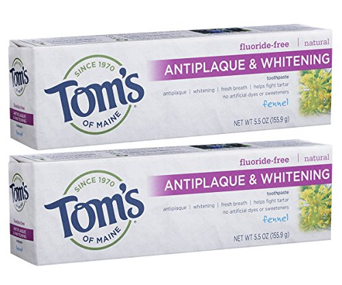 Tom's of Maine Natural Fluoride-Free Antiplaque & Whitening Toothpaste, Fennel 5.50 oz ( Pack of - Flavored Toothpaste Herbal
