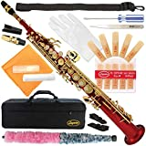 300-RD-RED/GOLD Keys Bb STRAIGHT SOPRANO Saxophone Sax Lazarro+11 Reeds,Care Kit~22 COLORS~SILVER or GOLD KEYS~CHOOSE YOURS !