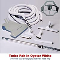 Central Vacuum Turbo Brush Cleaning Set for Galaxie Central Vacuum Systems Featuring a Vacuflo TurboCat Power Nozzle, 35-foot Electriflex On-Off Switch Gas Pump Handle Hose, Tool Set, in White-Gray