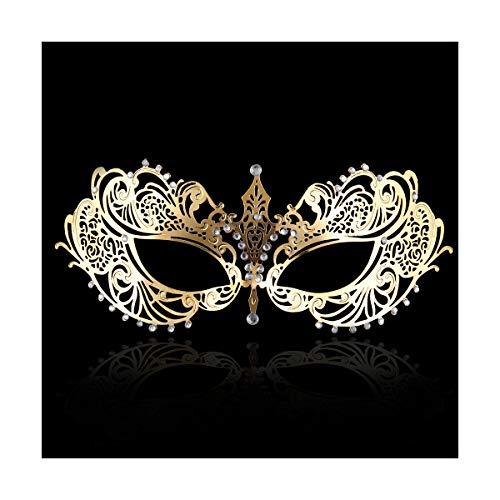 Bridal Mask (FACEWOOD Masquerade Mask Women Ultralight Gorgeous Gold & Silver Shiny Metal Rhinestone Mask. (Butterfly Gold))