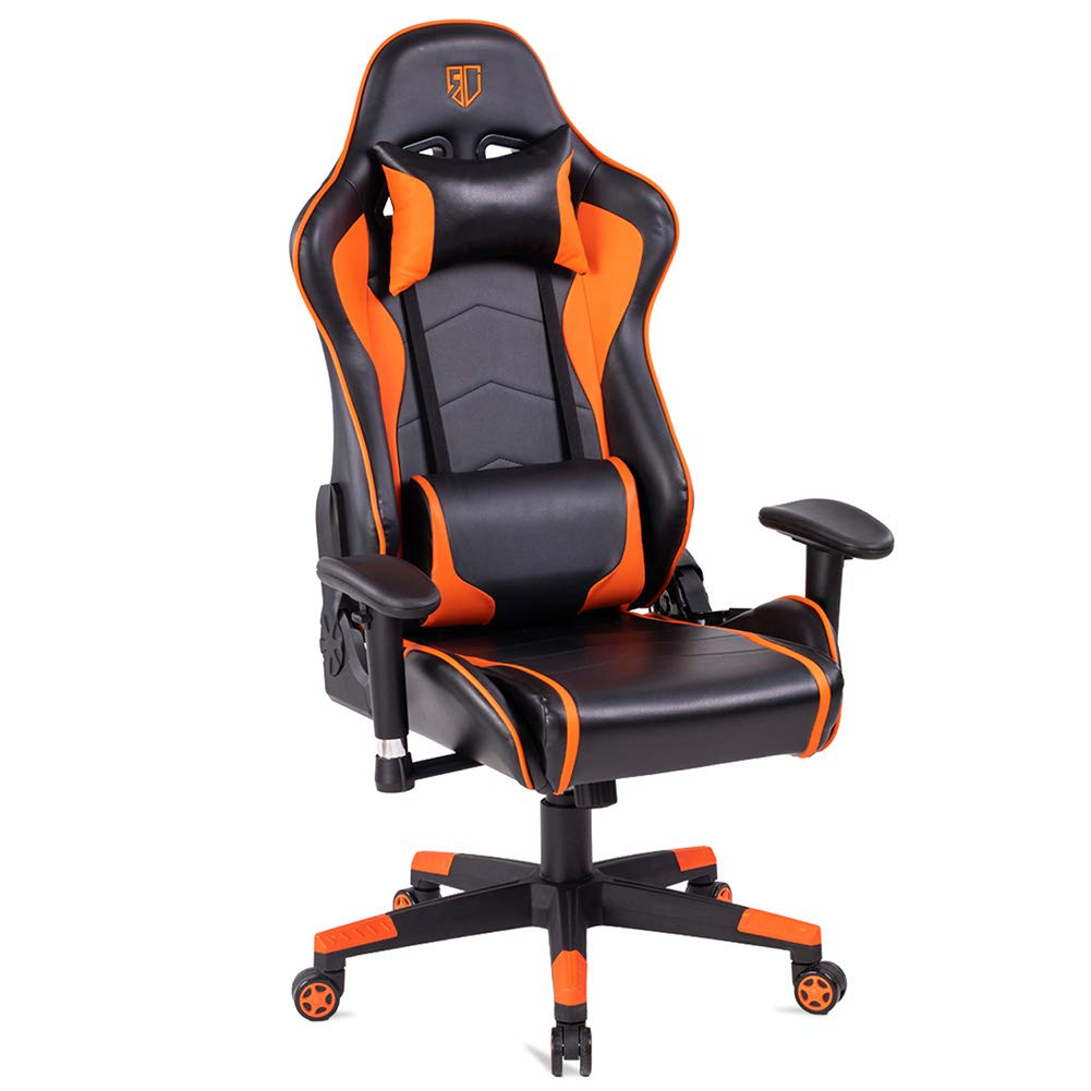 Max4out Computer Racing Chair Adjustable Ergonomic Gaming Chair with with Premium PU Leather Headrest and Lumbar Support for Home Office Orange