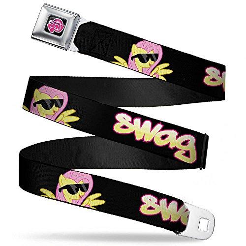 Buckle-Down Seatbelt Belt - Fluttershy in Sunglasses SWAG Black/Pink/Yellow - 1.0