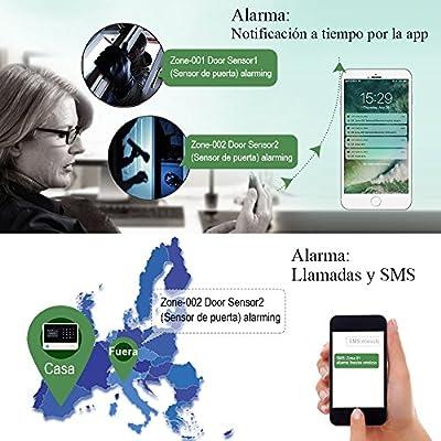 ERAY S1 Alarmas para Casa WiFi + gsm/ 2G, Antirrobo, Inalámbrico, App y LCD Pantalla en Castellano, Servicio + Garantía, 96 Zonas, Accesorios y Pilas ...