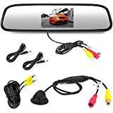 Pyle PLCM4340 Car Vehicle Rearview Backup Camera & Mirror Monitor Parking Kit, Waterproof Night Vision Cam, 4.3 Screen, Distance Scale Lines, Night Vision