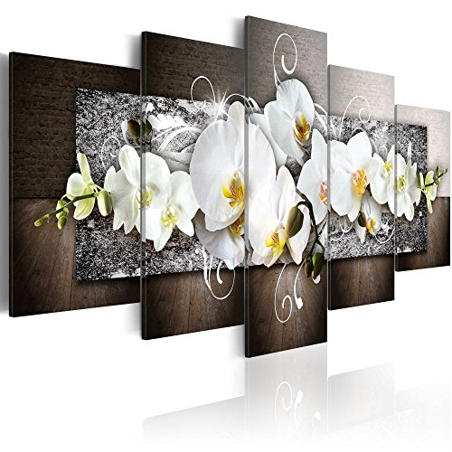 (Orchid Flowers Floral Canvas Print Abstract Design Wall Art Painting Decor for Home Decoration Artwork Pictures Bedroom Flower (A, Over Size 40''x20''))