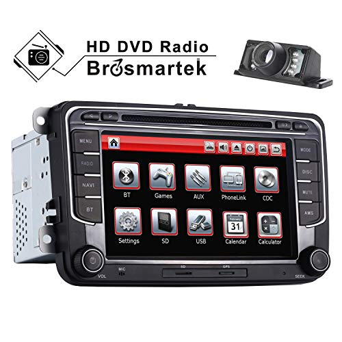 7 Inch Car Stereo Double Din FM Radio for VW MK5 MK6 Golf Passat Jetta Polo with GPS Navigation System DVD Player Touchscreen Bluetooth USB SD Steering Wheel Control Canbus Mirrior Link 16G Map