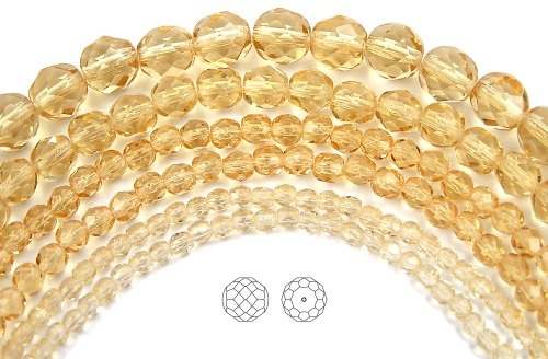 3mm (135) Light Colorado Topaz, Czech Fire Polished Round Faceted Glass Beads, 16 inch strand (Topaz Cut Glass)