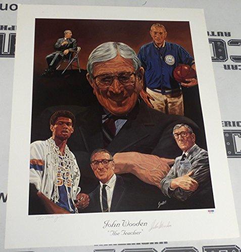 John Wooden Signed UCLA Bruins Basketball 22x26 Lithograph COA Autograph - PSA/DNA Certified - Autographed College Art