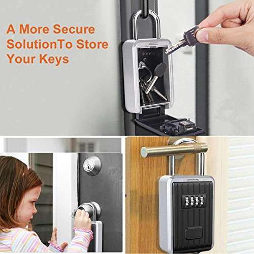 Key Lock Box Storage Safe Box Realtor 4-Digit Combination Lock Box Padlock Security for Home Garage School Spare House Car Keys by xixiw (Image #1)