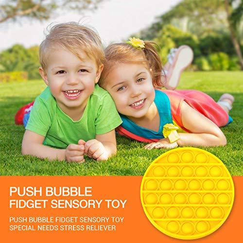 Parent-Child Games Black Round 2 Pack Pop it Fidget Toy Push Pop Bubble Fidget Sensory Toy for Autism Special Needs Stress Reliever Extrusion Fidget Toy for Anxiety