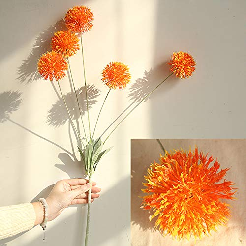 Fine Artificial Silk Fake Flowers Dandelion Floral Wedding Bouquet Hydrangea Decor (Orange)