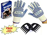 Cooking Gloves - Heat Resistant Gloves - use as Pot Holders, BBQ Gloves, Oven Mitts - Set of 2 Gloves - Premium Protection Certified at 662 Degrees F - Large+ FREE Bonus Meat Claws.