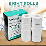 "White Athletic Sports Tape 8-Pack - Easy Tear Zigzag Edge with No Sticky Residue, Hypoallergenic, Latex Free, Easy on Skin – Used by Pro Athletes and Coaches -1.5"" x 10 Yards"