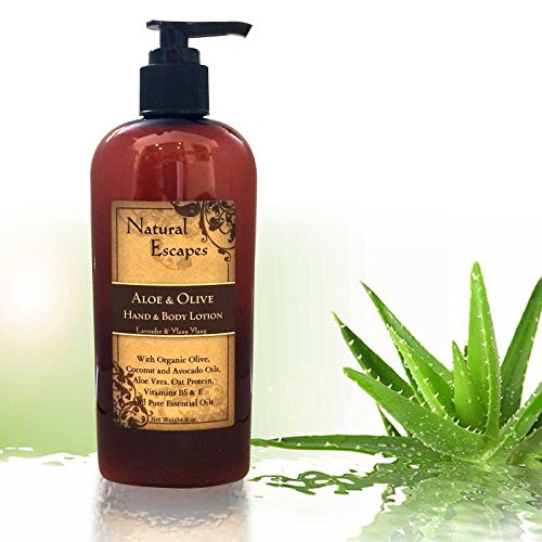 Natural Escapes | Organic Hand & Body Lotion w/ Lavender & Aloe| Includes Olive, Coconut, & Avocado Oil | Rich Moisturizer Soft & Smooth Skin | 8oz bottle (Oxygen Body Lotion)