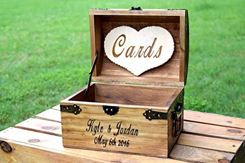 (Personalized Wooden Card Box with Cards Heart - Rustic Wedding Card Box - Rustic Wedding Decor - Advice Box Wishing Well - Shabby Chic Card Box - Wedding Card)