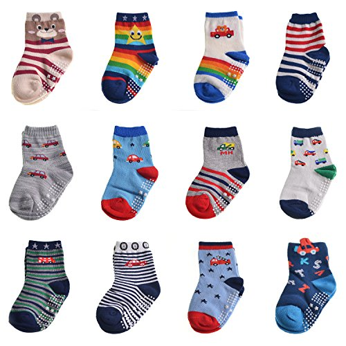 Ashmita 12 Pairs Toddler Non Skid Cotton Crew Socks with Cute Cartoon,Baby Boy Anti Skid Socks(1-3year)