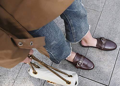 U-lite Women's Cowhide Round-Buckle Flat Slide Mule Shoes Brown8 by U-lite (Image #2)