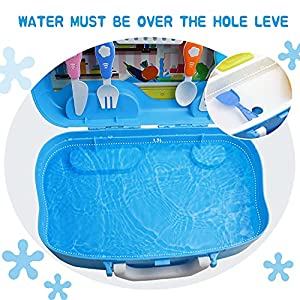 aovo Kids Play Sink Children Electric Dishwasher Kitchen Toys Set with Running Water and Automatic Water Cycle System Pretend Role Play Toy for Boys Girls