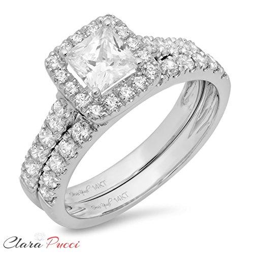 Clara Pucci 1.5 CT Princess Cut Pave Halo Bridal Engagement Wedding Ring band set 14k White Gold