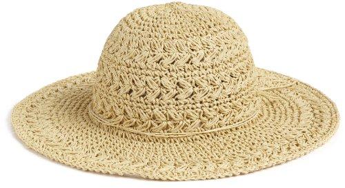 SCALA Women's Big Brim Crocheted Toyo Hat, Natural, One - Beige Crocheted Hat
