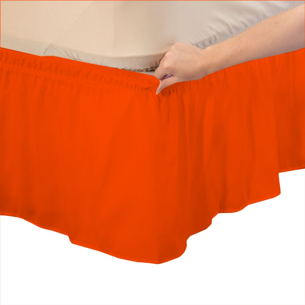 Relaxare Cal King 400TC 100% Egyptian Cotton Orange Solid 1PCs Wrap Around Bedskirt Solid (Drop Length: 24 inches) - Ultra Soft Breathable Premium Fabric