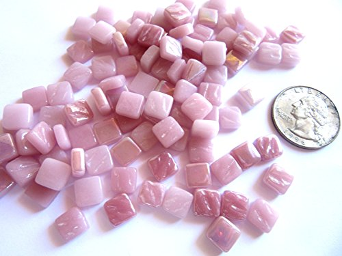 (Mini Pink Mosaic Tiles , 8 mm Square Tiles, Glass Mosaic Pieces, Tiny Tiles . 2 OZ (approx 100 tiles))