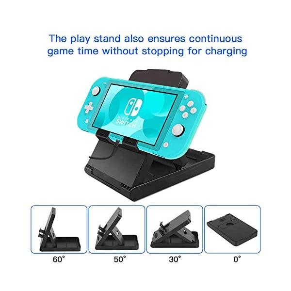 Accessories Kit for Nintendo Switch Lite - YOOWA Accessories Bundle with Carrying Case, Protective Cover case, 2-Pack Tempered Glass Screen Protector, Adjustable Play Stand, 6 Thumb Grips 5