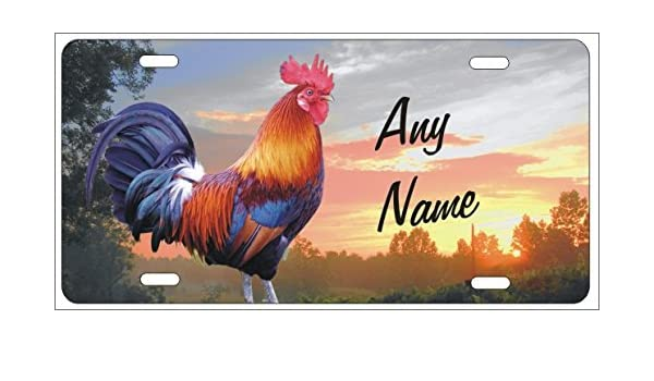 Rooster Personalized Any Name Aluminum Novelty Auto Car License Plate